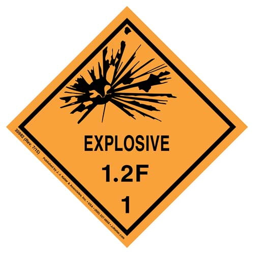 Explosives Label - Class 1, Division 1.2F - Paper (07900)