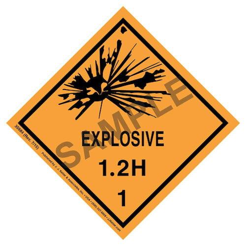 Explosives Label - Class 1, Division 1.2H - Paper (07902)