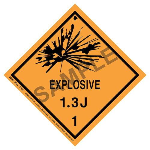 Explosives Label - Class 1, Division 1.3J - Paper (07909)