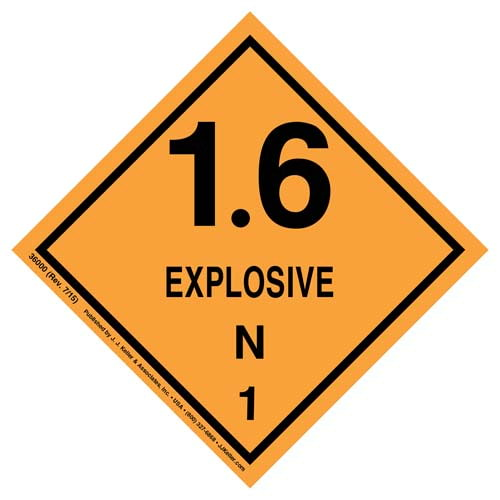 Explosives Label - Class 1, Division 1.6N - Paper (07918)
