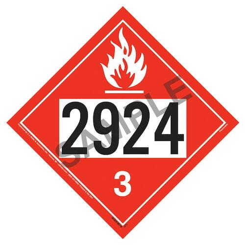 2924 Placard - Class 3 Flammable Liquid (01704)
