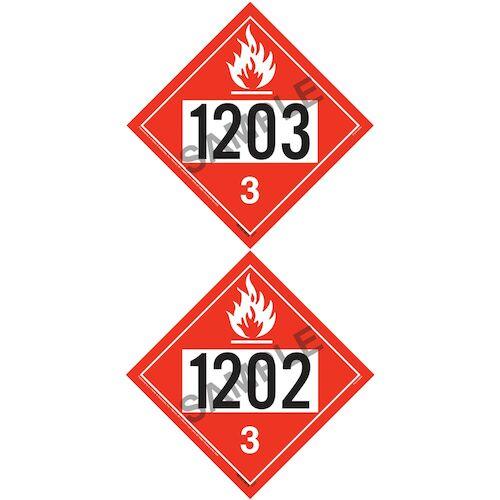1203/1202 Placard - Class 3 Flammable Liquid (07995)