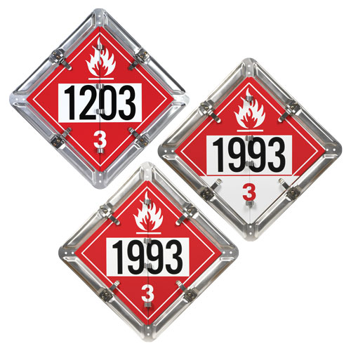 Aluminum Flip Placard - 3 Legend, Numbered, Class 3 Flammable, Combustible (01578)