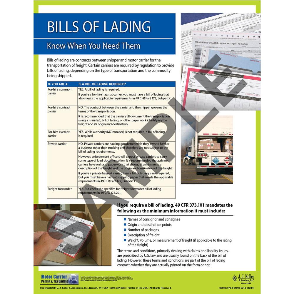 Bills Of Lading Motor Carrier Safety Poster