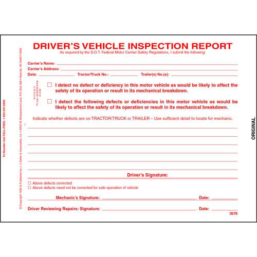 Simplified Driver's Vehicle Inspection Report, 3-Ply, Carbonless, Snap-Out Format - Stock (01373)