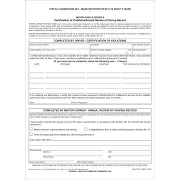 Certification of Violations/Annual Review of Driving Record - Stock (01378)