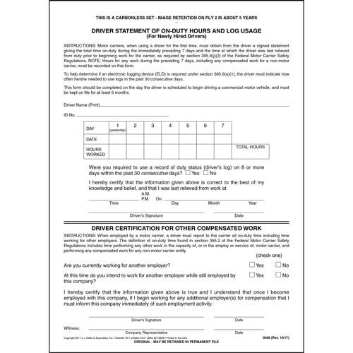Driver's Statement of On-Duty Hours - New Hire - Snap-Out Format (01382)