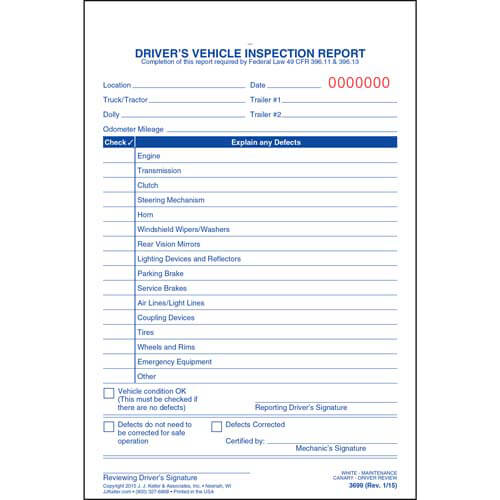 Simplified Driver's Vehicle Inspection Report - Vertical Format, 3-Ply, Carbonless, Snap-Out Format - Stock (01541)