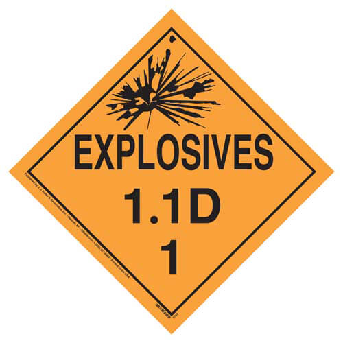 Division 1.1D Explosives Placard - Worded (02262)