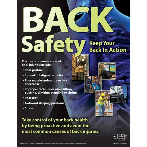 Back Safety Keep Your Back In Action Awareness Poster