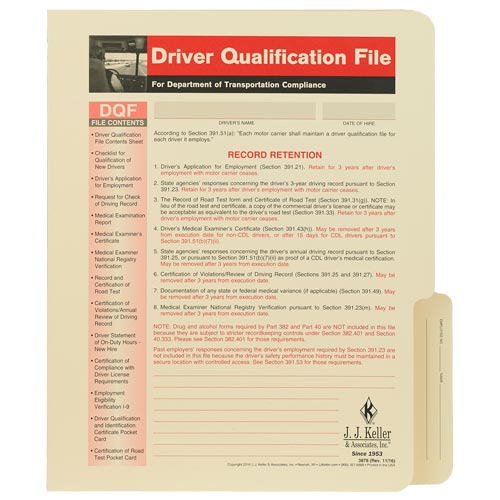 Driver Qualification File Folder - For Snap-Out Forms (01442)