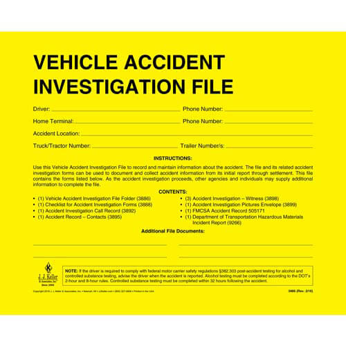 Vehicle Accident Investigation File Packet (01160)