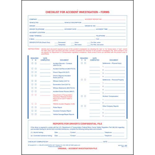 Checklist For Accident Investigation Forms (01162)