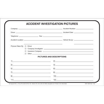 Accident Investigation Pictures Envelope (02800)