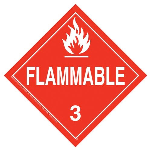 Class 3 Flammable Liquid Placard - Worded (02467)
