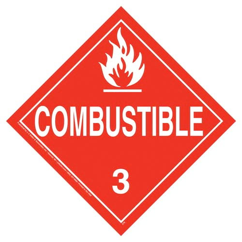Class 3 Combustible Placard - Worded (02471)