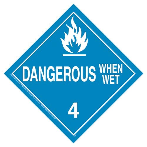 Division 4.3 Dangerous When Wet Placard - Worded (02505)
