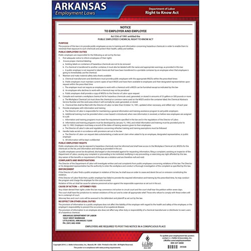 Arkansas Chemical Right to Know Act Poster (04929)