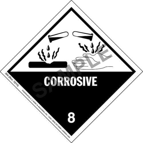 Hazardous Materials Labels - Class 8 -- Corrosive - Paper, Sheet (00029)