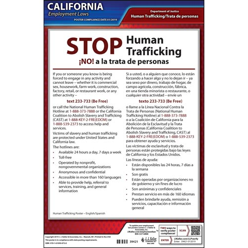 California STOP Human Trafficking Poster (07331)