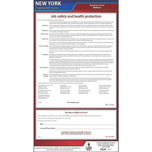 New York Right to Know and Workplace Safety & Health for Public Employees Poster (04963)