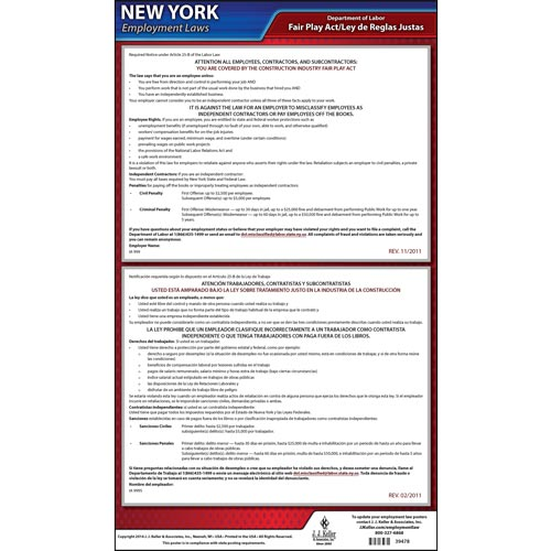 New York Construction Industry Fair Play Act Poster (05113)