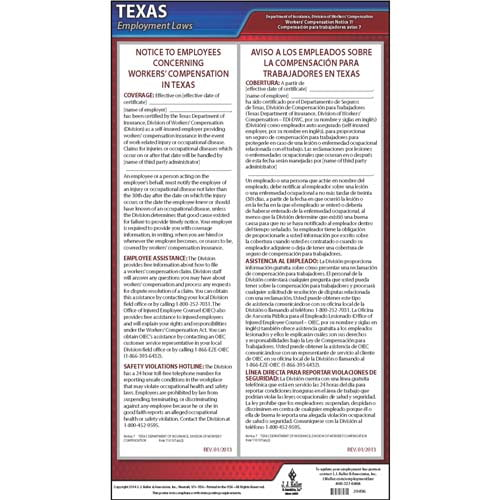 Texas Notice 7 Workers' Compensation Coverage (Certified Self-Insurance) Poster (07235)