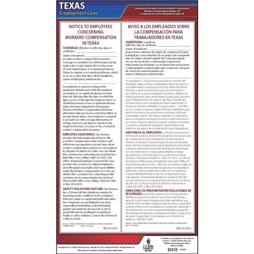 Texas Notice 10 Workers' Compensation Coverage (Self-Insurance Group) Poster (07236)