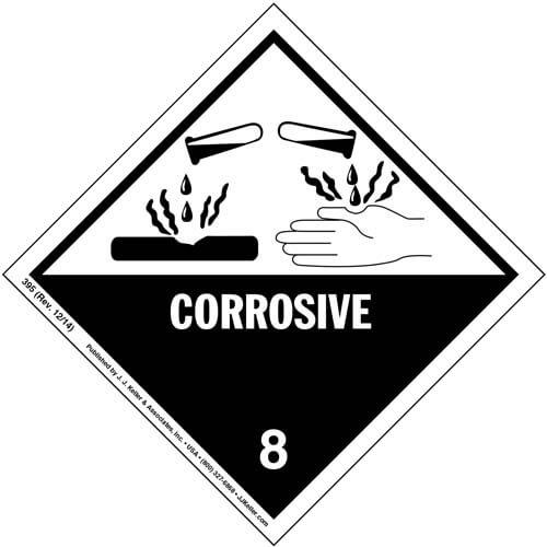 Hazardous Materials Labels - Class 8 -- Corrosive - Vinyl (00028)
