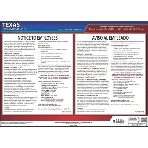 Texas Hazard Communication Act Poster (04977)