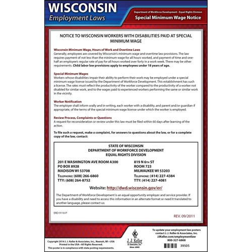 wisconsin disabilities paid at a special minimum wage poster