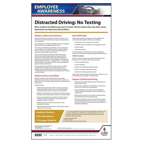 Distracted Driving Employee Awareness Poster (05822)