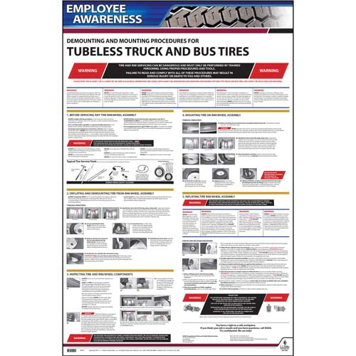 Demounting & Mounting Procedures for Tubeless Truck & Bus Tires (OSHA 3401) - Employee Awareness Poster (06403)
