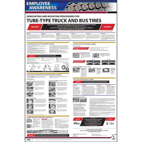 Demounting & Mounting Procedures for Tube-Type Truck & Bus Tires (OSHA 3402) - Employee Awareness Poster (06404)
