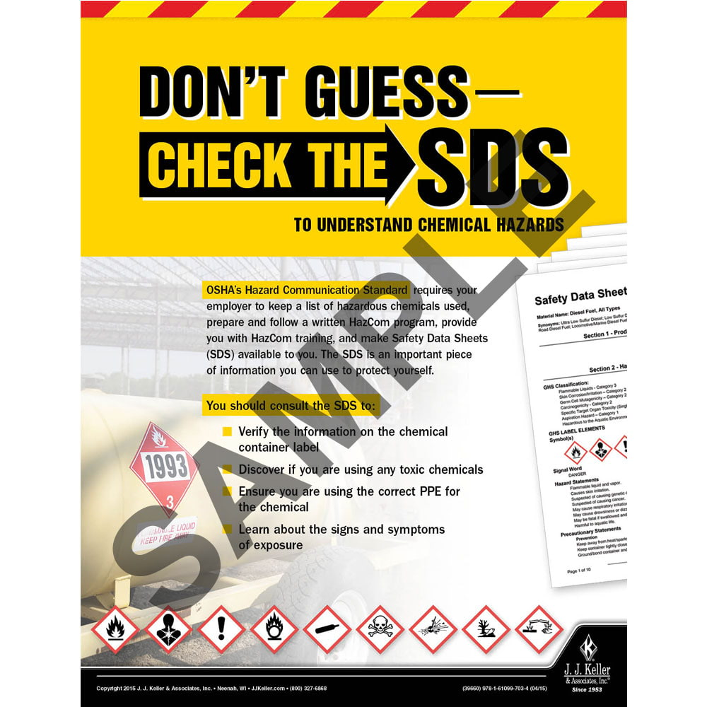Check The SDS - Construction Safety Poster (08696)