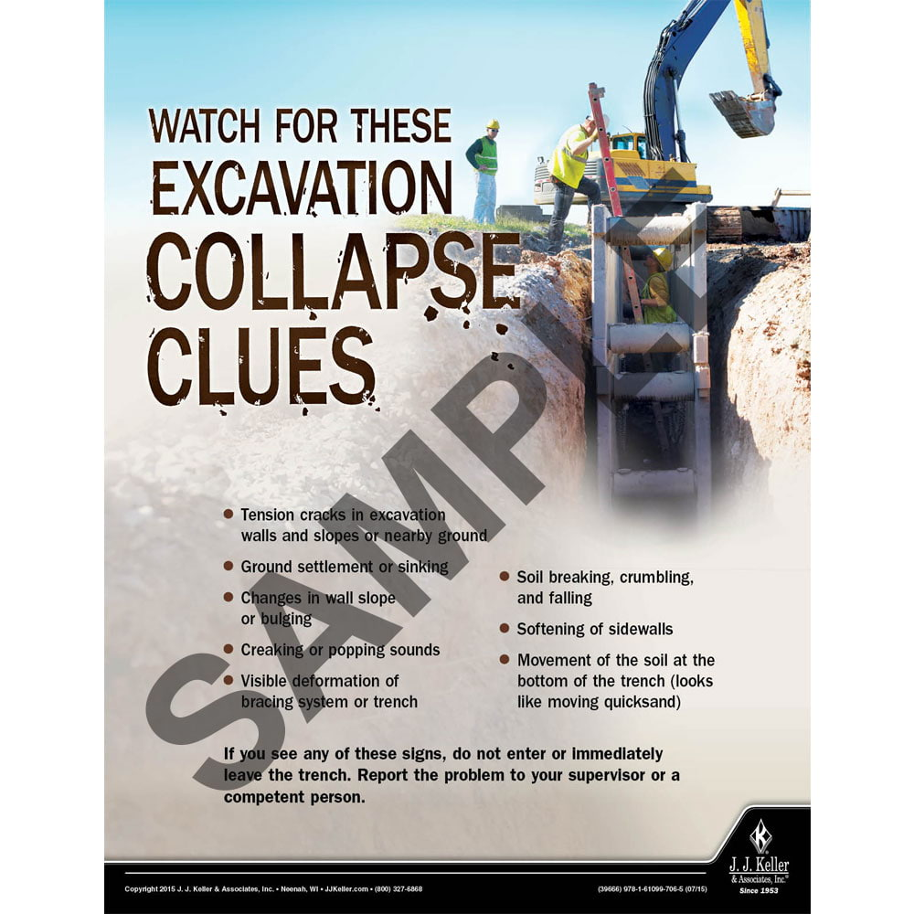 Excavation Collapse Clues - Construction Safety Poster (08699)