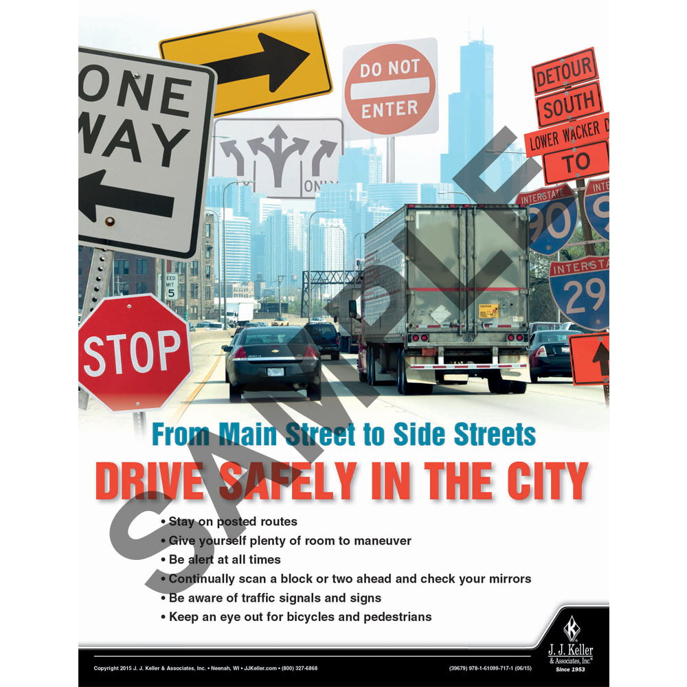 Drive Safely In The City - Driver Awareness Safety Poster (08710)