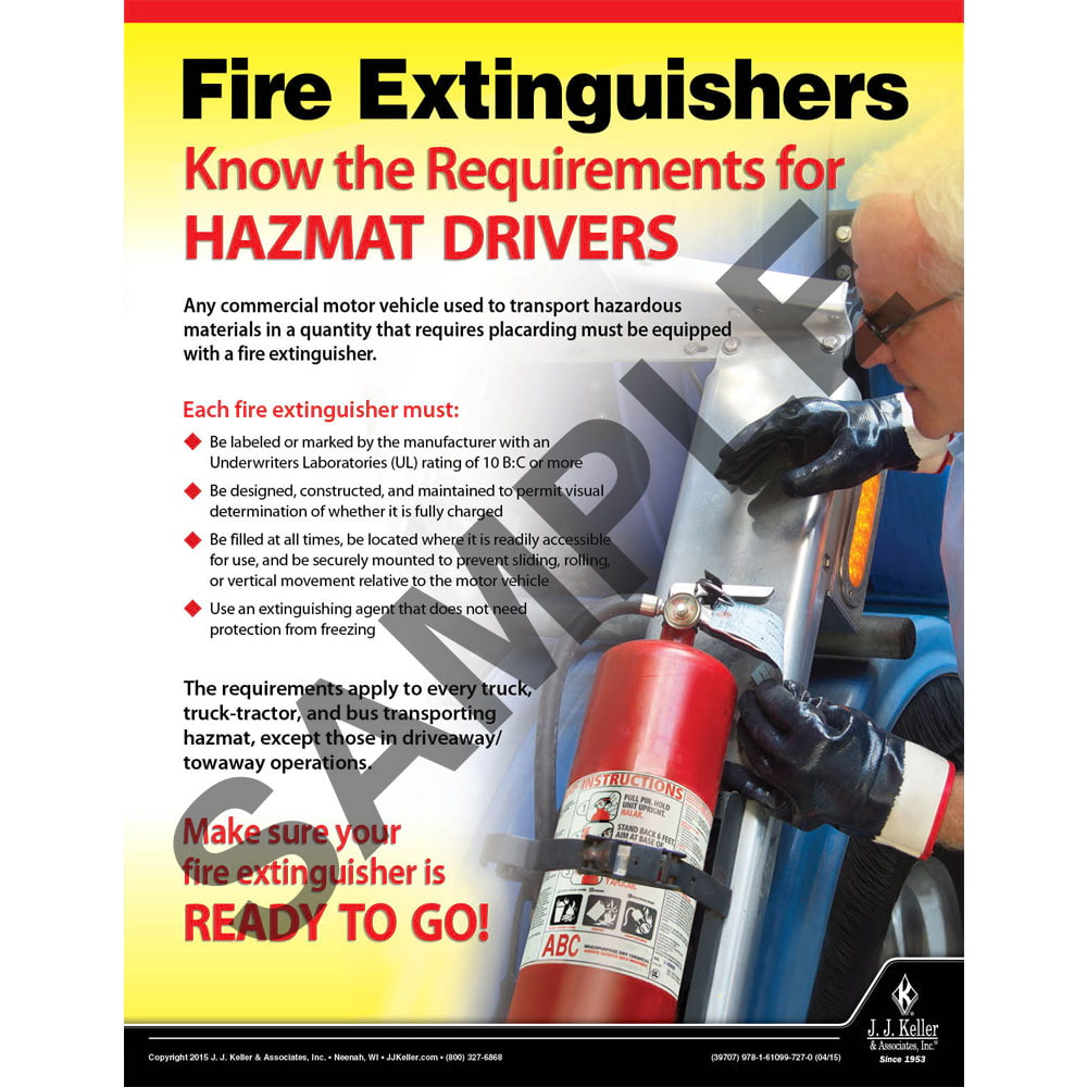 Fire Extinguishers - Hazmat Transportation Poster (08720)