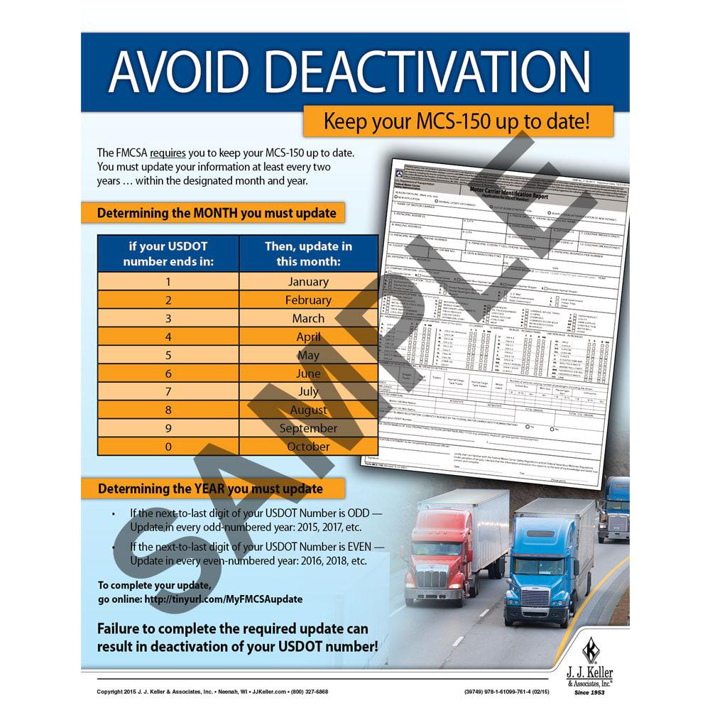 Avoid Deactivation - Motor Carrier Safety Poster (08754)
