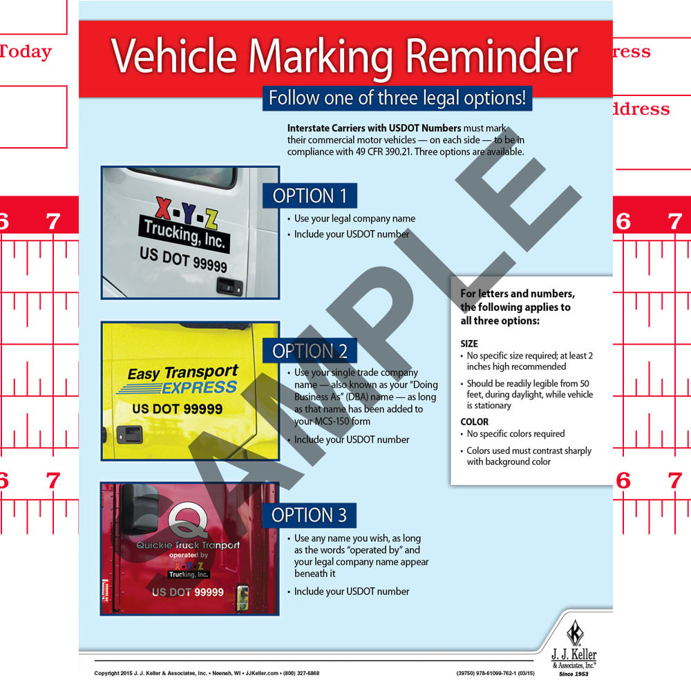 Vehicle Marking Reminder Motor Carrier Safety Poster