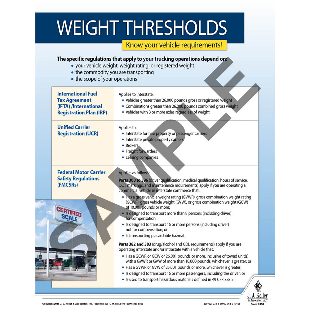 Weight Thresholds - Motor Carrier Safety Poster (08757)