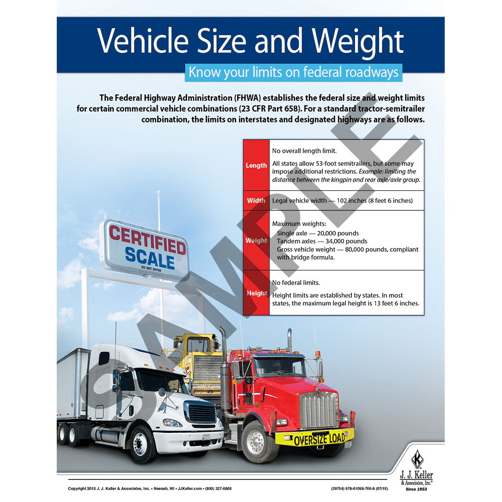 Vehicle Size And Weight Motor Carrier Safety Poster
