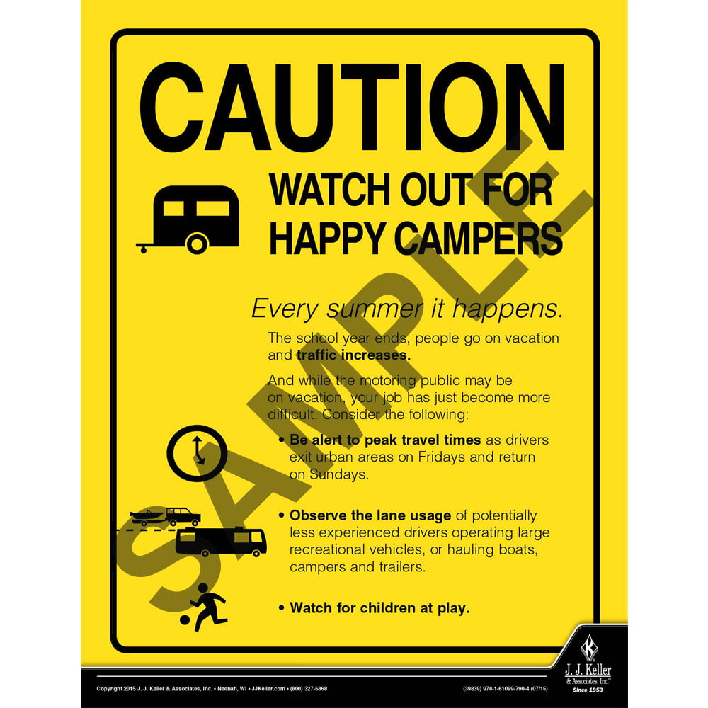 Caution Happy Campers - Transport Safety Risk Poster (08771)