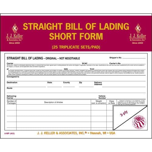 Straight Bill Of Lading - Short Form - Retail Packaging (07044)