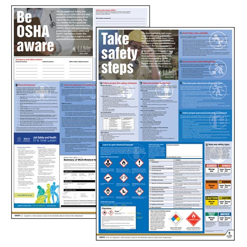 Federal Safety Poster Set - Be OSHA Aware, Take Safety Steps (08008)