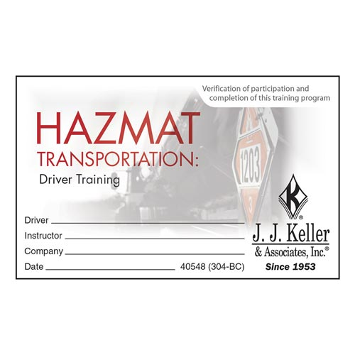 Hazmat Transportation: Driver Training - Wallet Cards (08876)
