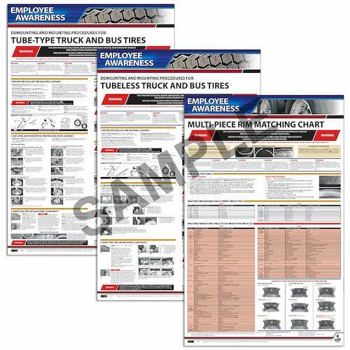OSHA Tire Mount Poster Kit (OSHA 3401-3403) - Employee Awareness Posters (06406)