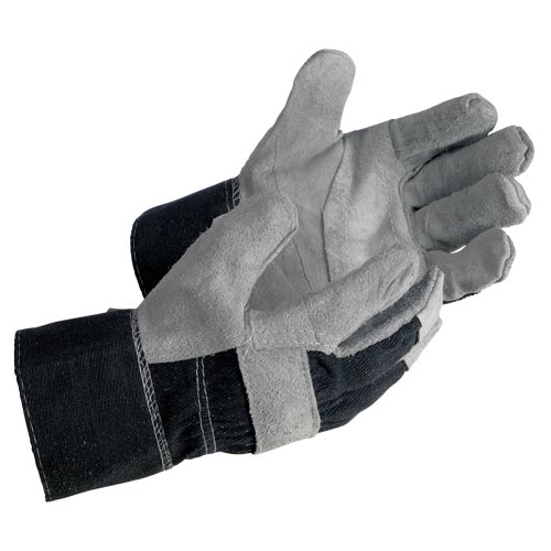 MCR Safety Economy Split Cowhide Leather Denim Safety Cuff Work Gloves (06566)