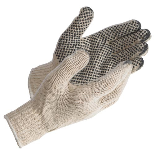 MCR Safety Economy PVC Dot String Knit Gloves - Dots on 1 Side (06552)