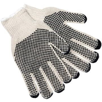 MCR Safety Economy PVC Dot String Knit Gloves - Dots on 2 Sides (06553)